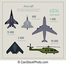 Set of Military Aircraft Vector Illustrations - Military...