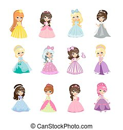 Set of Princesses in Evening Gowns Isolated Vector