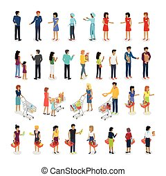 Set of Customers and Sellers Characters Vector - People in...