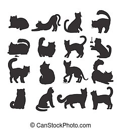 Set of Cats Vector Flat Design Illustration - Different...