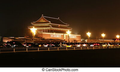 beijing_1a - time lapse of city traffic at night, Tiananmen,...