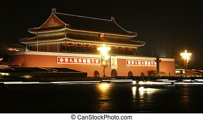 beijing_2a - time lapse of city traffic at night, Tiananmen,...