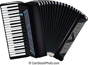 Accordion musical instrument - musical instrument black...