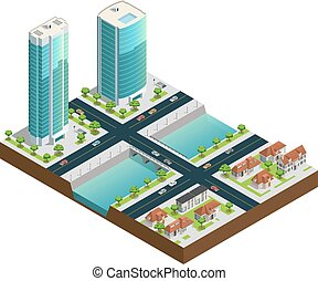 Isometric Skyscrapers And Suburban Houses - Isometric...