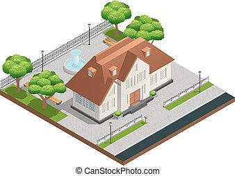 Suburban House Isometric Composition - Isometric composition...