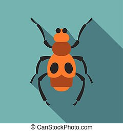 Spotted bug icon, flat style