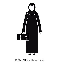 Arabic woman icon, simple style