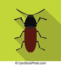 Brown bug icon, flat style