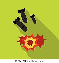 Bomb icon, flat style - Bomb icon. Flat illustration of bomb...