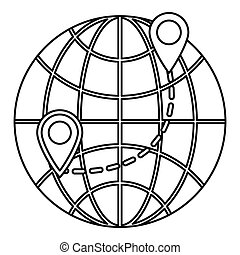 Globe icon, outline style