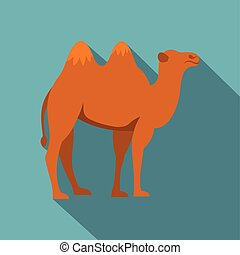Camel icon, flat style - Camel icon. Flat illustration of...
