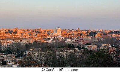 Panorama of Rome at sunset. View from Passeggiata del...