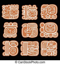 Mayan glyphs, writing system and languge vector design in...