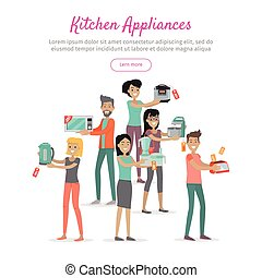 Kitchen Appliances. Set of People on Store Sale