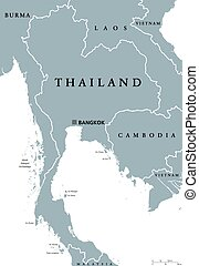 Thailand political map with capital Bangkok and national...