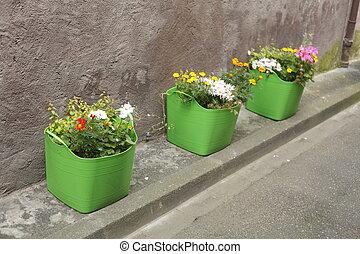 Blumenkasten - Grüne Blumenkästen mit Sommerblumen am...