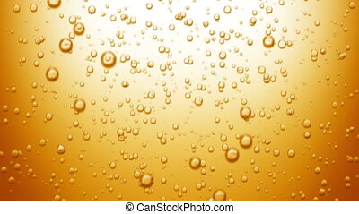 Beautiful Beer Bubbles Rising Up. Loopable 3d Animation of Sparkling Water on Yellow Background. HD 1080.