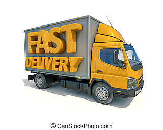 Delivery Truck Icon - 3d render: Yellow Postal Truck and 3d...