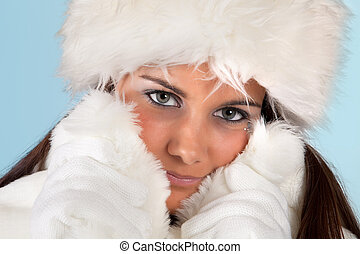 Winter woman with gloves