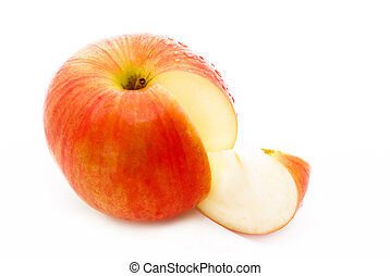 apple - red apple with a slice, on white background