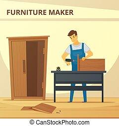 plano, muebles, el montar, carpintero, cartel