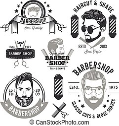 Barbershop Monochrome Emblems - Barbershop monochrome...