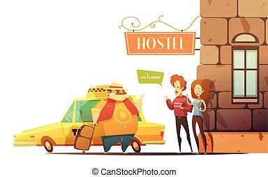 概念, 歓迎, 観光客, デザイン, マネージャー, ホステル