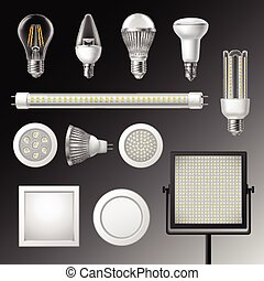 Realistic Led Lamps Set - Realistic led lamps of different...