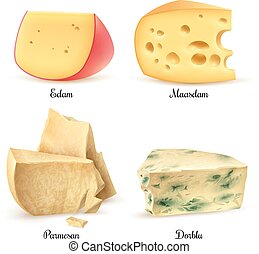 Quality Cheese 4 Realistic Images Set - Relish quality...