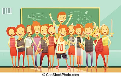 Traditional School Education Retro Cartoon Poster - Classic...