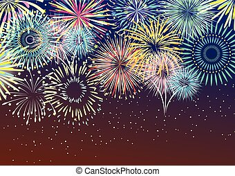 Festive Firework Abstract Background - Festive colorful...