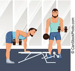 Male Characters Doing Fitness Illustration