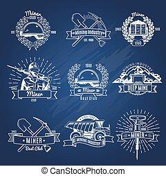 Monocromo, minería, industria, emblemas