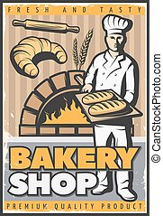 Bakery Shop Poster - Colorful poster for bake shop in...