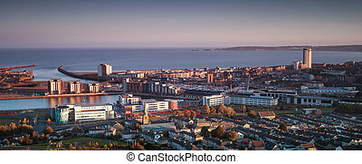 Swansea city South Wales - A view of Swansea centre and the...