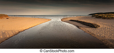 Oxwich Bay Swansea - Where the river joins Oxwich Bay on the...