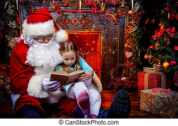 reading fairytales - Good old Santa Claus and a small girl...