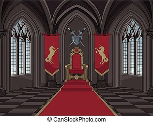 Medieval Castle Throne Room - Illustration of medieval...