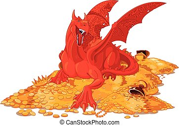 Magic Dragon on the Pile of Gold - Illustration of magic...