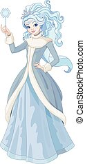 The Snow Queen - Illustration of Snow Queen holding magic...