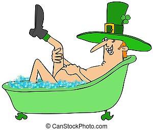 Leprechaun taking a bubble bath - Illustration of an Irish...