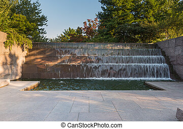 Waterfall in the FDR Memorial in Washington DC