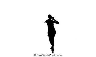 Woman tennis player playing tennis and jumping. White background. silhouette
