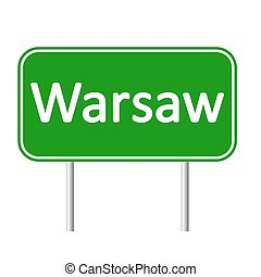 Warsaw road sign. - Warsaw road sign isolated on white...