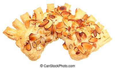 Golden Almond Honey Bear Claw Pastry isolated over white....