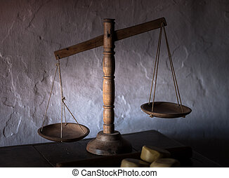 Antique wooden balance scales - Old set of wooden balance...