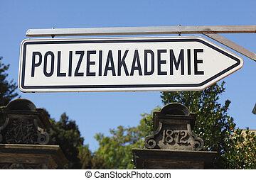 Schild Polizeiakademie, Nienburg, Niedersachsen, Deutschland