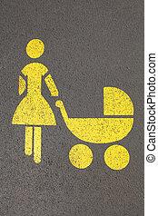 Mutter und Kind - Bodenmarkierung Mutter und Kinderwagen,...