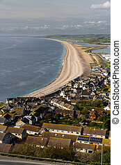 The Chesil Beach, seen from Portland Bill. - Chesil bank,...