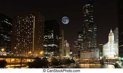 Full Moon over Chicago, Illinois - A Full Moon over Chicago,...